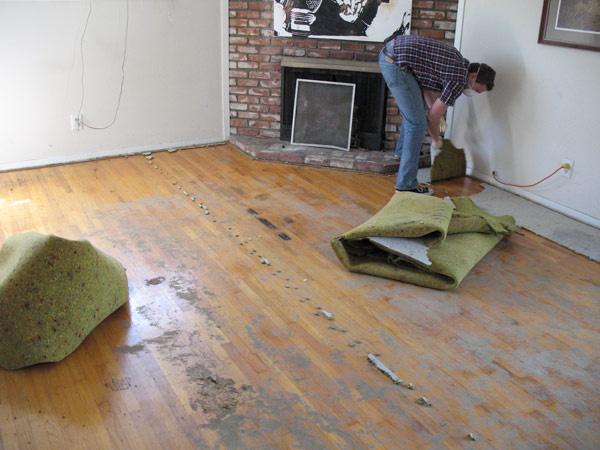 How to remove old carpet padding from hardwood floors for Removing hardwood floors